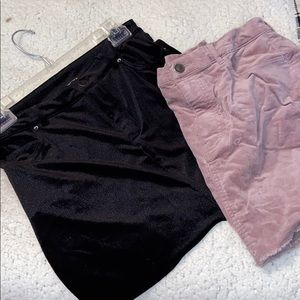 Pink and black jean skirts Forever 21